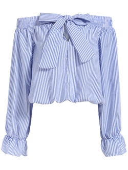 Romwe - Bow Vertical Striped Top