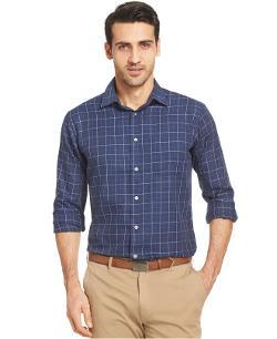Jake johnson polo ralph lauren custom fit plaid sport for Van heusen plaid shirts