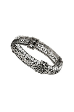 Wallis - Silver Filigree And Rhinestone Bangle