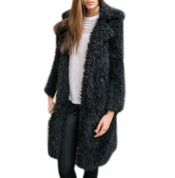 Ours - Fuzzy Faux Lamb Fur Coat