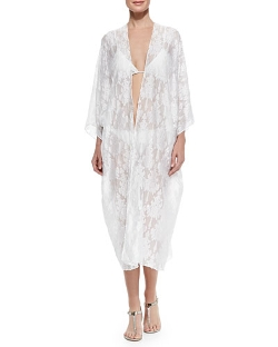 Marie France Van Damme - Embroidered Chiffon Babani Cover-Up