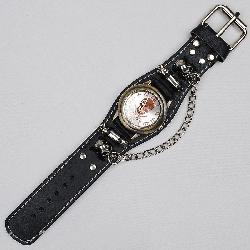 JY - Punk Gothic Ladies Women Men Gens Genuine Leather Wrist Watch Rivet Chain Skull