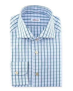 Kiton - Windowpane-Plaid Dress Shirt