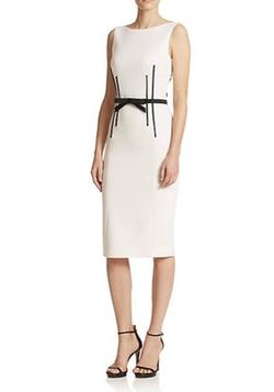 Michael Kors  - Belted Boatneck Sheath Dress