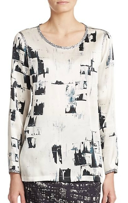 Max Mara - Sublime Brushstroke-Print Silk Blouse