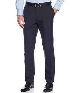 Kenneth Cole Reaction  - Solid Slim-Fit Windowpane Pants
