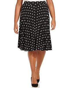 Modamix  - Plus Size Polka-Dot A-Line Skirt
