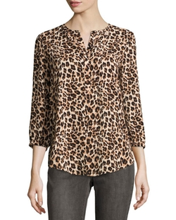 NYDJ - Animal-Print Pleated-Back Blouse
