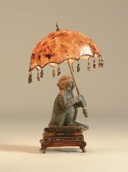 Maitland-Smith - Finely Cast Verdigris Patina Monkey on Books Desk Lamp, Inlaid Penshell Shade