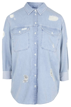 Topshop - MOTO Ripped Oversized Denim Shirt