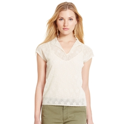 Ralph Lauren - Embroidered Tulle Top