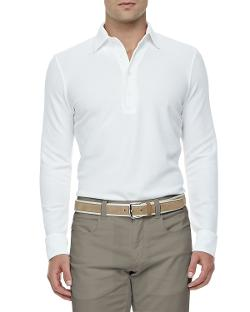 Loro Piana - Huck-Lace-Cotton Long-Sleeve Polo