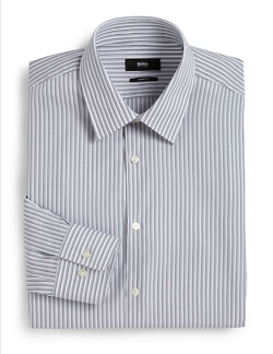 Hugo Boss - Sharp-Fit Textured Stripe Dress Shirt