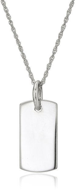 Amazon Collection - Sterling Silver Engraveable Dog Tag Pendant Necklace