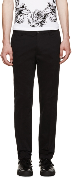 Dolce & Gabbana - Black Cotton Slim-Fit Chinos