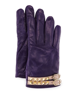 Valentino - Rockstud Napa Leather Gloves