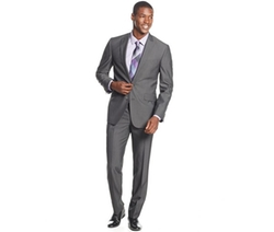 Kenneth Cole - Reaction Charcoal Pinstripe Slim-Fit Suit