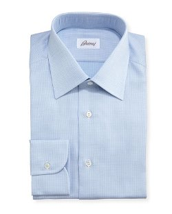 Brioni	 - Textured Micro-Check Dress Shirt