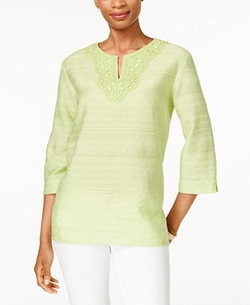 Alfred Dunner - Textured Embellished Split-Neck Top