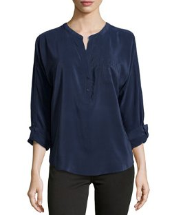 Joie - Silk Split-Neck Blouse