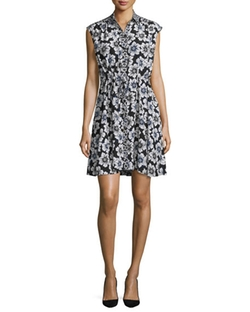 Kate Spade New York  - Collared Floral Silk-Blend Shirtdress
