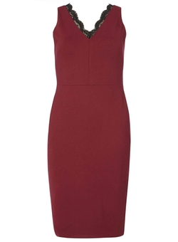 Dorothy Perkins - Wine Lace Neck Pencil Dress