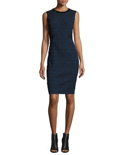 Elie Tahari - Dorian Textured Lace-Panel Sheath Dress