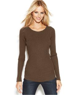 INC International Concepts  - Long-Sleeve Ribbed-Knit Sweater