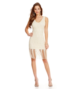 As U Wish - Lace Fringe Hem Tank Dress