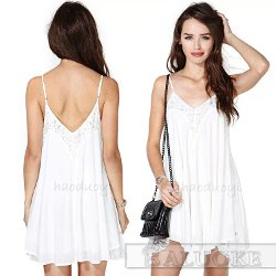 Free Cloud Women Fashion - White Chiffon Swing Cami Dress