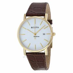 Bulova  - White Dial Gold-Tone Stainless Steel Mens Watch