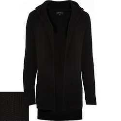 River Island - Black Knitted Ribbed Hooded Cardigan