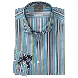 Thomas Dean - Pima Cotton Multi-Stripe Shirt