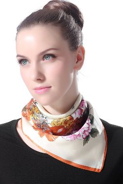 "Luxury Lane  - ""Vintage Flower"" Silk Square Scarf"