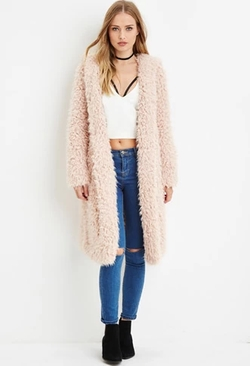 Forever 21 - Hooded Faux Fur Coat