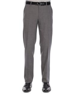 Etro  - Flat-Front Wool Trousers, Med Gray