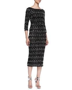 Alice + Olivia  - Stein Scalloped Beaded 3/4-Sleeve Sheath Dress