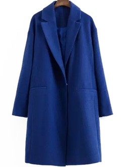 ROMWE - Lapel Long Sleeve Woolen Blue Coat