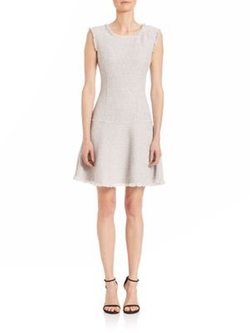 Rebecca Taylor - Sleeveless Stretch Tweed Fit & Flare Dress