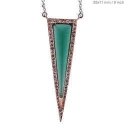 Couturechics - Onyx Fine Triangle Shape Pendant Chain Necklace