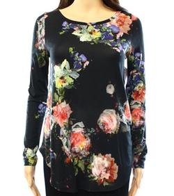 Karen Kane  - Long-Sleeve Abstract Floral Print Knit Top