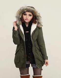 Goodshopcn - Ladies Top Hooded Parka Jacket Warm Winter Long Style Thicken Fleece Coat HYG-9008