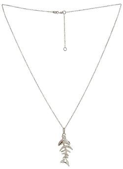 Tanari - Diamond & Ruby Fishbone Necklace