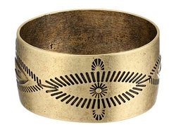 Gypsy Soule - Antiqued Etched Wide Bangle Bracelet