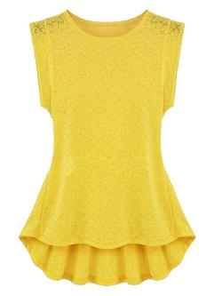 Choies - Yellow Lace Waisted Peplum Blouse