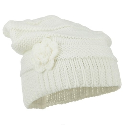 Hatiya - Flower Knit Long Beanie