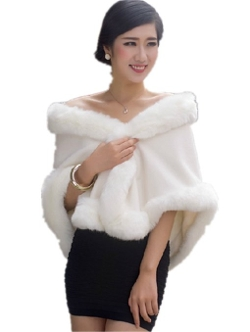 Chericom Store-Fur Shawl - Faux Fox Fur Shawl Warm Cloak