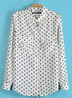 Sheinside - Long Sleeve Polka Dot Epaulet Blouse