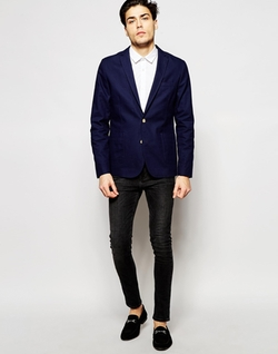 Asos - Washed Cotton Slim Blazer