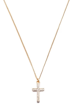 Forever 21 - Rhinestone Cross Pendant Necklace